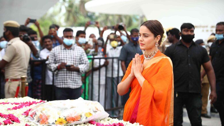 Thalaivii Movie team  J. Jayalalithaa  memorial visit Stills.