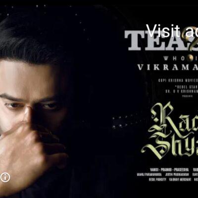 Radheshyam Teaser   Introducing Prabhas as Vikramaditya   Pooja Hegde   Radha Krishna Kumar